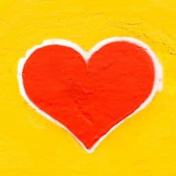 Picture of a heart on a yellow background.